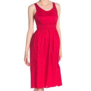 Love...Ady Red Poplin Tank Midi Dress XS New